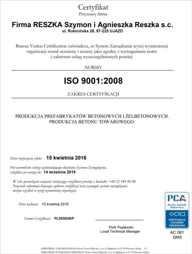 Certyfikat ISO 9001:2008 - Firma Reszka